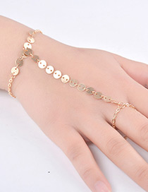 Fashion Gold Color Paillette Decorated Pure Color Simple Bracelet