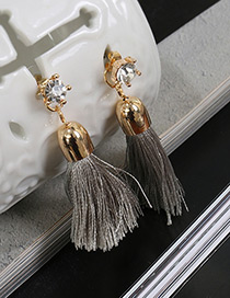 Fashion Gray Tassel Pendant Decorated Pure Color Simple Earrings