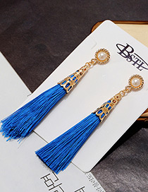 Elegant Blue Long Tassel Pendant Decorated Pure Color Earrings