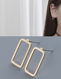 Fashion Gold Color Square Shape Decorated Pure Color Simple Earrings