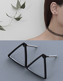 Fashion Black Triangle Shape Decorated Pure Color Simple Earrings