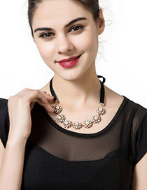 Trendy Black Diamond&pearl Decorated Pure Color Simple Necklace