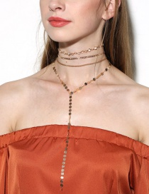 Trendy Gold Color Sequins Decorated Multi-layer Design Pure Color Necklace