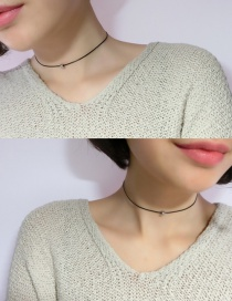 Fashion Black Round Ball Decorated Pure Color Simple Choker
