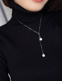 Fashion Silver Color Pearls Pendant Decorated Pure Color Long Necklace