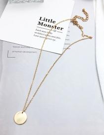 Elegant Gold Color Round Shape Decorated Pure Color Long Necklace