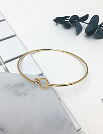 Fashion Gold Color Heart Shape Decorated Pure Color Opening Bracelet
