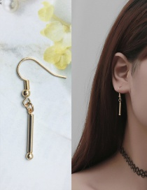 Elegant Gold Color Vertical Shape Decorated Pure Color Simple Earring (1pc)