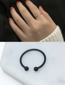 Elegant Black Round Balls Decorated Pure Color Opening Ring