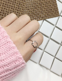 Elegant Silver Color Pure Color Decorated Square Shape Design Ring