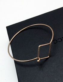 Elegant Rose Gold Square Shape Decorated Pure Color Simple Bracelet