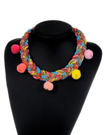Fashion Multi-color Pom Pom Ball Decorated Weave Design Color Matching Necklace
