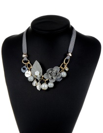 Fashion Gray Flower&pearl Decorated Color Matching Simple Necklace