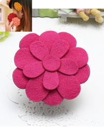 Elegant Plum Red Flower Shape Decorated Pure Color Simple Hair Posted