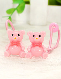 Cute Pink Little Bear Shape Decorated Simple Baby Hair Band(1pair)