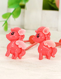 Cute Watermelon Red Little Horse Shape Decorated Simple Baby Hair Band(1pair)