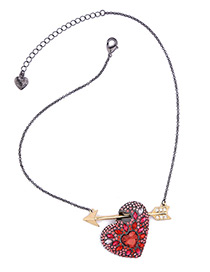 Trendy Plum Red Heart&arrow Decorated Color Matching Simple Necklace