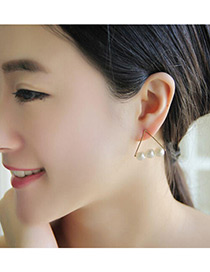 Fashion Beige Pearl Decorated Triangle Shape Pure Color Simple Earrings