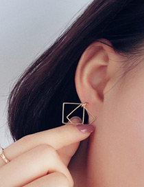 Vintage Gold Color Square Shape Decorated Hollow Out Design Earrings