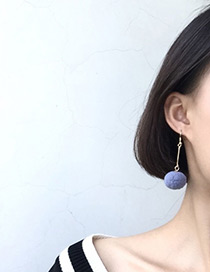 Active Denim Blue Pompom Ball Decorated Pure Color Simple Earrings