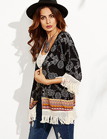 Fashion Black Flower Pattern Decorated Tassel Design Bikini Cover Up Smock