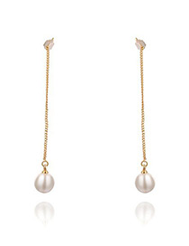 Fashion Rose Gold Pearl Decorated Pure Color Simple Long Earrings Reviews