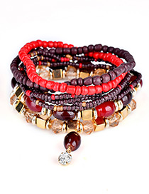 Trendy Multi-color Diamond&bead Decorated Multi-layer Design Simple Bracelet