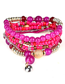 Fashion Plum Red Bead Decorated Multi-layer Design Simple Bracelet