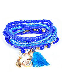 Fashion Sapphire Blue Tassel&flower&leaf Decorated Multi-layer Design Simple Bracelet