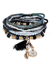 Fashion Black Tassel&flower&leaf Decorated Multi-layer Design Simple Bracelet