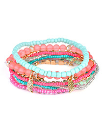 Fashion Multi-color Leaf&bead Decorated Multi-layer Design Simple Bracelet