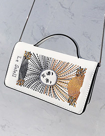 Trendy White Embroidery Face Shape Decorated Pure Color Shoudler Bag