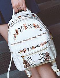 Fashion White Embroidery Flower Pattern Decorated Color Matching Shoulder Bag