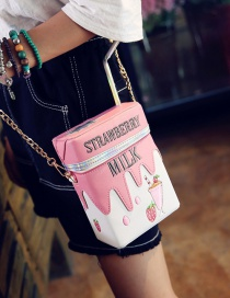 Fashion Pink Milk Bottle Shape Decorated Color Matching Simple Shoulder Bag
