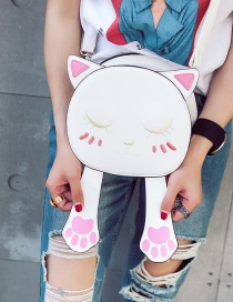 Trendy White Embroidery Cat Pattern Decorated Pure Color Simple Shoulder Bag