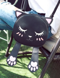 Trendy Black Embroidery Cat Pattern Decorated Pure Color Simple Shoulder Bag