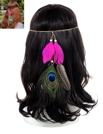 Fashion Plum Red Feather Decorated Color Matching Simple Headband
