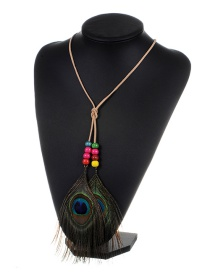 Fashion Khaki Feather&beads Decorated Color Matching Simple Necklace