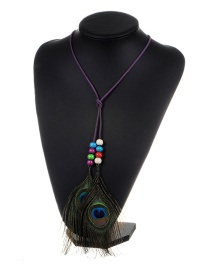 Fashion Purple Feather&beads Decorated Color Matching Simple Necklace