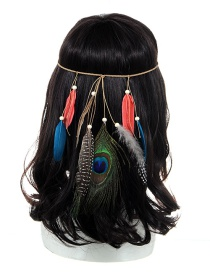 Fashion Multi-color Feather Decorated Color Matching Simple Headband