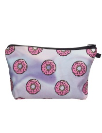 Fashion Purple Printing Doughnut Pattern Color Matching Cosmetic Bag