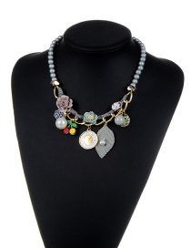 Fashion Gray Flower&beads Decorated Color Matching Simple Necklace