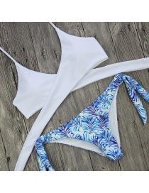 Sexy White Flower Pattern Decorated Pure Color Simple Bikini