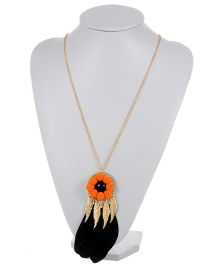 Fashion Black Leaf&feather Decorated Color Matching Simple Pom Necklace