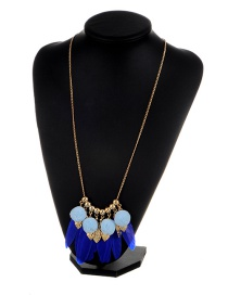 Fashion Sapphire Blue Leaf&feather Decorated Color Matching Simple Pom Necklace