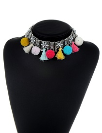 Fashion Silver Color Diamond&tassel Decorated Color Matching Simple Pom Necklace
