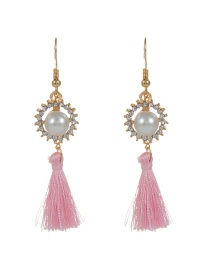 Bohemia Pink Round Shape Decorated Simple Tassel Design Earrings
