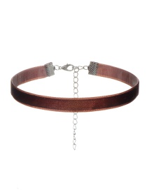 Vintage Brown Pure Color Decorated Simple Short Chain Children Choker