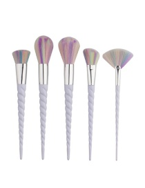 Fashion Multi-color Unicorn Shape Decorated Color Matching Cosmetic Brush (5 Pcs)