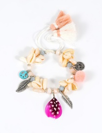 Trendy Pink Leaf&shell&feather Decorated Color Matching Pom Bracelet